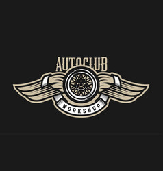 wheel and wings auto logo emblem on a dark vector image