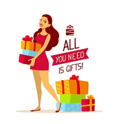 young girl with pile of gift boxes and te vector image