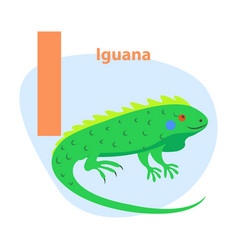 Zoo abc letter with cute iguana cartoon vector