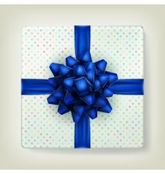 Blue bow ribbon on polka dot paper box EPS 10 vector image vector image