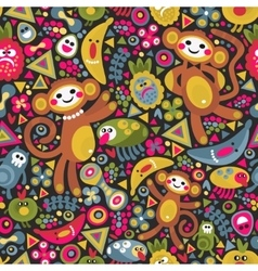 Cute monkey seamless texture colorful vector image vector image