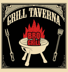 grill taverna bbq and grill design element for vector image vector image