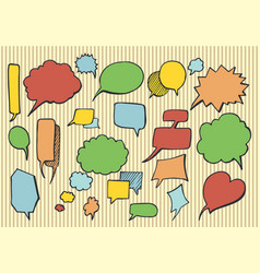 hand drawn speech bubbles and thoughts elements vector image