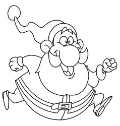 outlined running santa vector image vector image