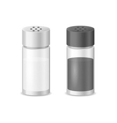 realistic detailed 3d glass sea salt and pepper vector image