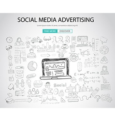 Social Media Advertising concept with Doodle vector image