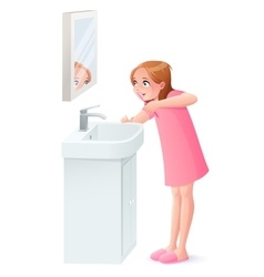 Young girl brushing her teeth next to vector