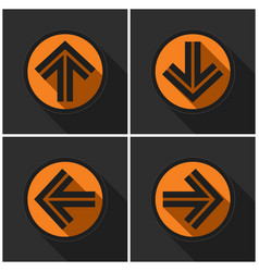 four orange round with black arrows and shadows vector image