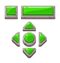 Green Cartoon stone buttons for game or web design vector image