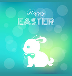 happy easter headline with silhouette bunny vector image vector image