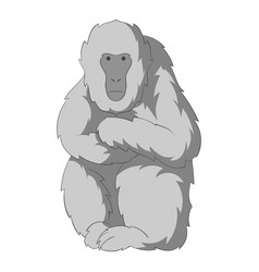 japanese macaque icon monochrome vector image