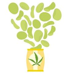 marijuana and hemp chips Herbal green chips Chips vector image