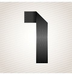 Number metal ribbon - 1 - one vector image
