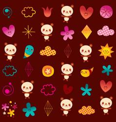panda bears flowers hearts diamonds vector image vector image