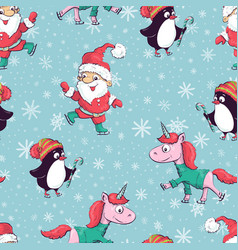 seamless pattern with santa claus snowman vector image vector image