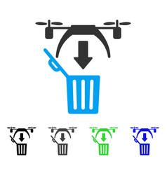 Trash drone flat icon vector