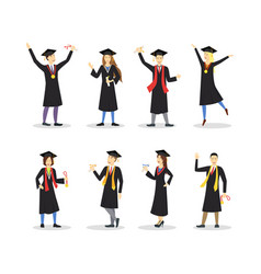cartoon graduation of happy students set vector image vector image