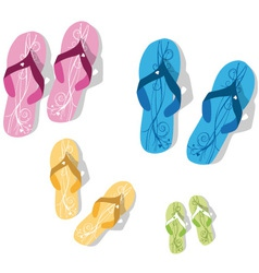 family flip flop vector image vector image
