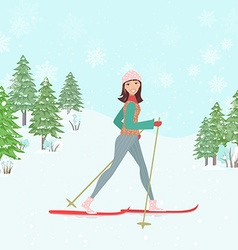 Happy young woman cross country skiing in winter vector