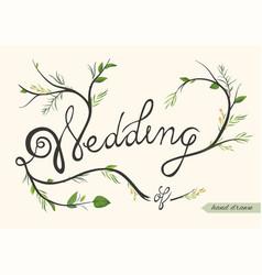 Wedding invitation invite card poster hand drawn vector