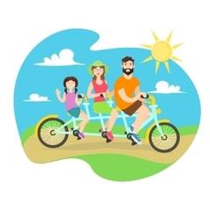 Happy Family Tandem Bike vector image