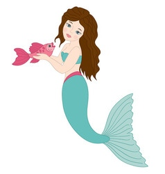 Mermaid With Fish vector image vector image