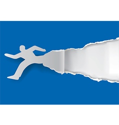 Running man ripping paper vector image vector image