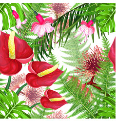 seamless pattern with bright flowers and leaves vector image