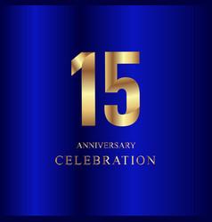 15 year anniversary celebration gold blue vector
