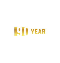 90 year happy birthday gold logo on white vector image