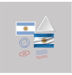 A set stamps with image flag vector