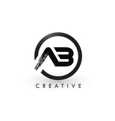 Ab brush letter logo design creative brushed vector