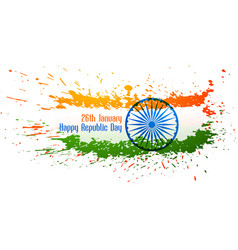 Abstract indian flag design made with ink splatter vector