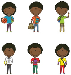 African-American school boys vector