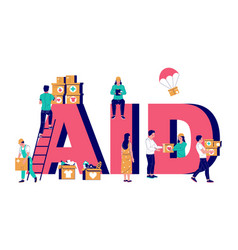 aid typography banner template flat vector image