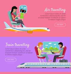 air traveling and train traveling banners vector image