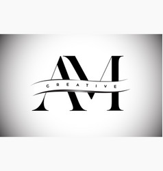 Am letter logo with serif letter and creative cut vector