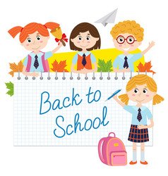 back to school with pupils vector image