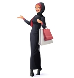 Beautiful Muslim woman in hijab standing vector