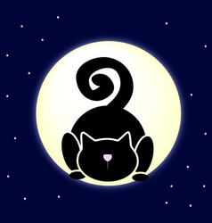 black cat on the moon vector image