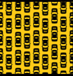 black taxi traffic seamless pattern on yellow vector image