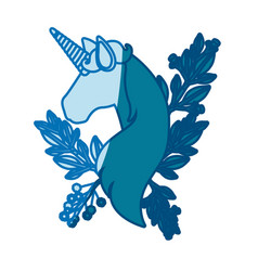 Blue silhouette of faceless unicorn with floral vector
