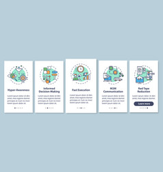 Business agility onboarding mobile app page vector