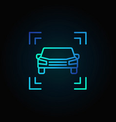 car blue line icon on dark background vector image