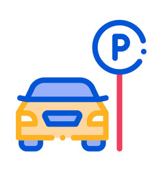 car near parking sign icon outline vector image