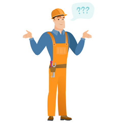 caucasian confused builder with spread arms vector image