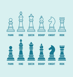 chess pieces outline and silhouette icons vector image