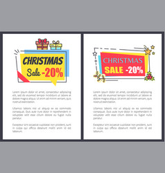christmas sale -20 off banners with text adverts vector image