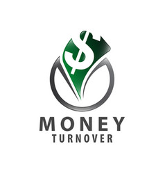 circle money turnover logo concept design symbol vector image