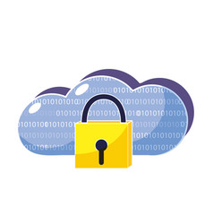 Close padlock and data cloud conection vector